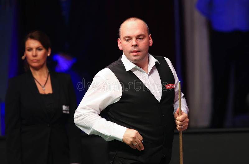 Stuart Bingham. Of England pictured during a snooker friendly match against Ronnie O'Sullivan, in Bucharest, Romania, Saturday, 21 November 2015 royalty free stock photography