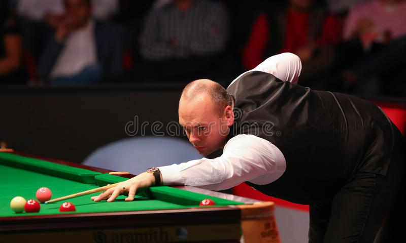 Stuart Bingham. Of England pictured during a snooker friendly match against Ronnie O'Sullivan, in Bucharest, Romania, Saturday, 21 November 2015 stock photo
