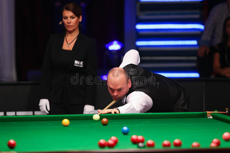 Stuart Bingham. Of England pictured during a snooker friendly match against Ronnie O'Sullivan, in Bucharest, Romania, Saturday, 21 November 2015 stock image
