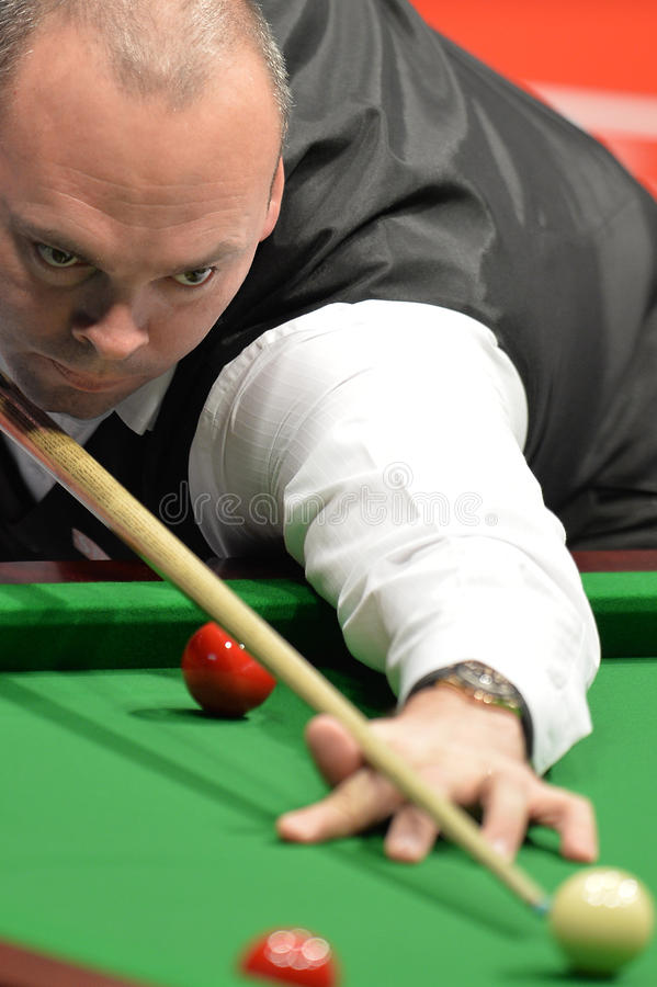 Stuart Bingham of England. Portrait of Stuart Bingham playing snooker during a snooker exhibition match in Bucharest, Romania, 21st November 2015 royalty free stock photography