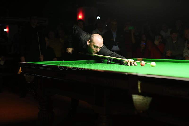 Stuart Bingham. Vs Ronnie O'Sullivan in Bucharest royalty free stock photography