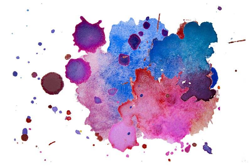 Stubarwna akwareli pluśnięcia tekstura zaplamia tło odizolowywającego Grunge ręki rysujący kropla, punkt i kropelki, Watercolour  zdjęcia royalty free