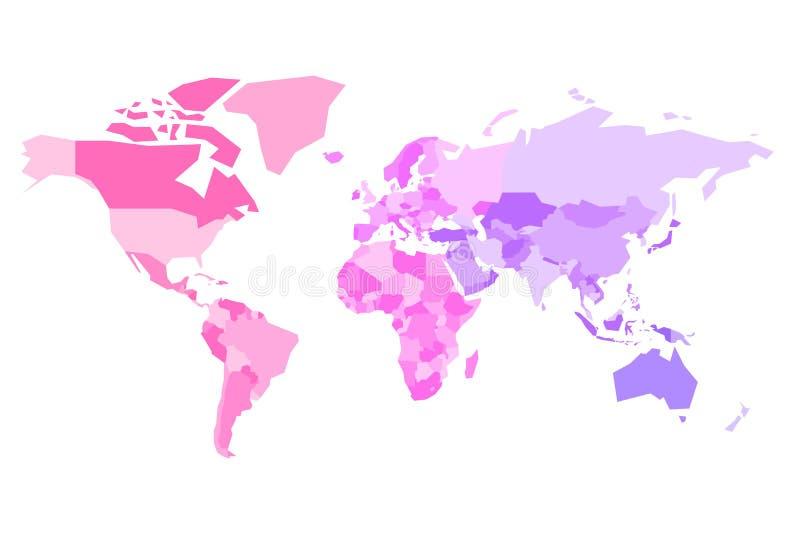 Stubarwna mapa świat Uproszczona polityczna mapa z granicami kraju countires Kolorowa wektorowa ilustracja wewnątrz ilustracji