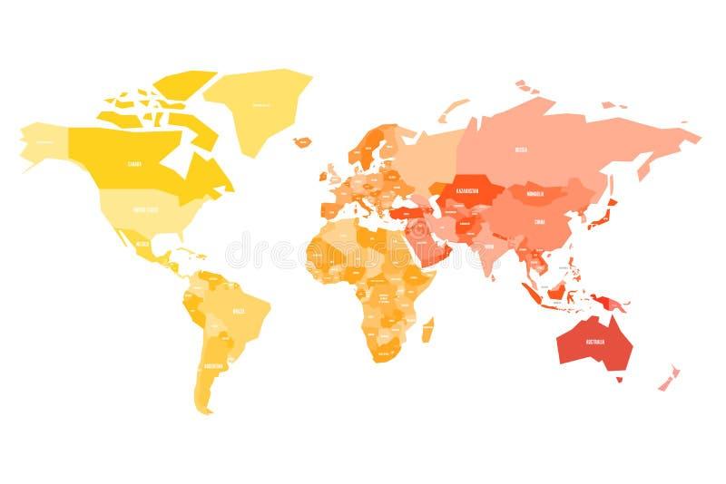Stubarwna mapa świat Uproszczona polityczna mapa z granicy kraju ande imienia etykietkami countires Kolorowy wektor royalty ilustracja