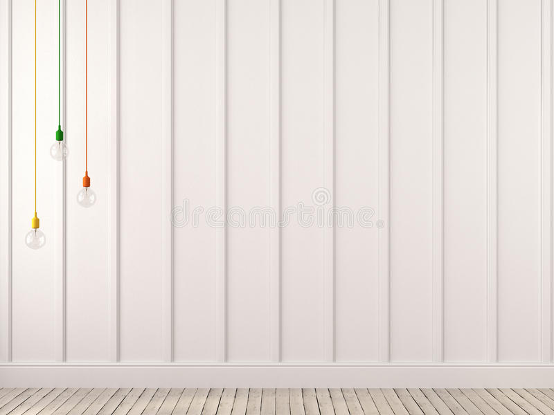 Stubarwne lampy wiesza przeciw białej ścianie zdjęcie stock