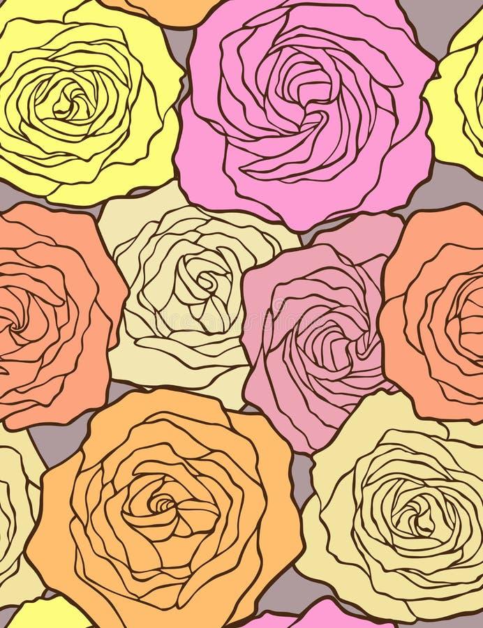 Stubarwne róże. Wektoru bezszwowy wzór. ilustracji