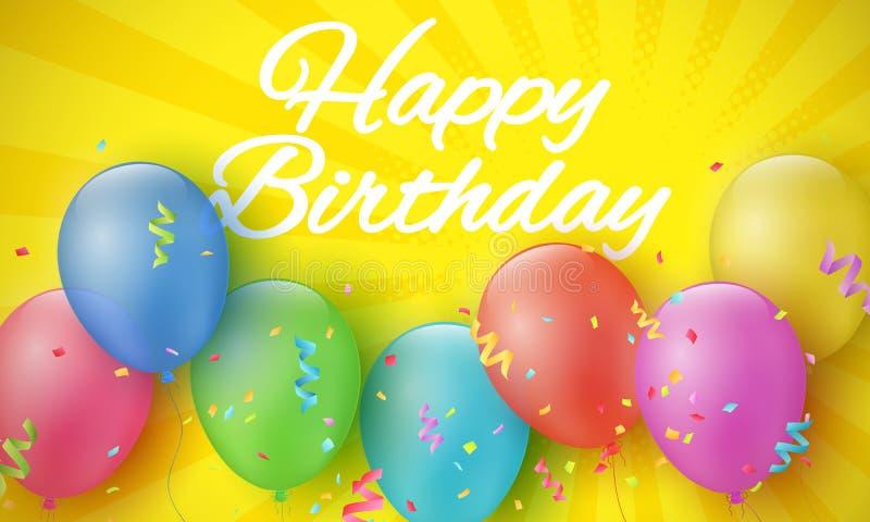 Stubarwni świąteczni balony na kreskówki żółtym tle z halftone i promieniami urodzinowa szczęśliwa inskrypcja Wybuch conf royalty ilustracja