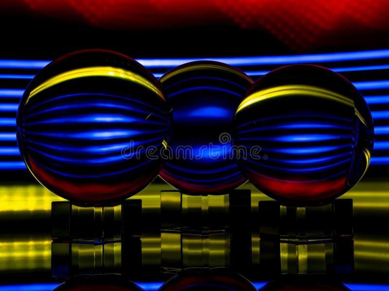 Stubarwni światła Odbijają w Lensballs zdjęcia royalty free
