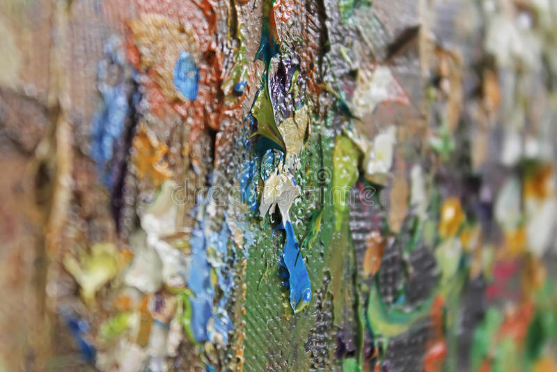 Stubarwni brushstrokes nafciana farba na kanwie obrazy royalty free