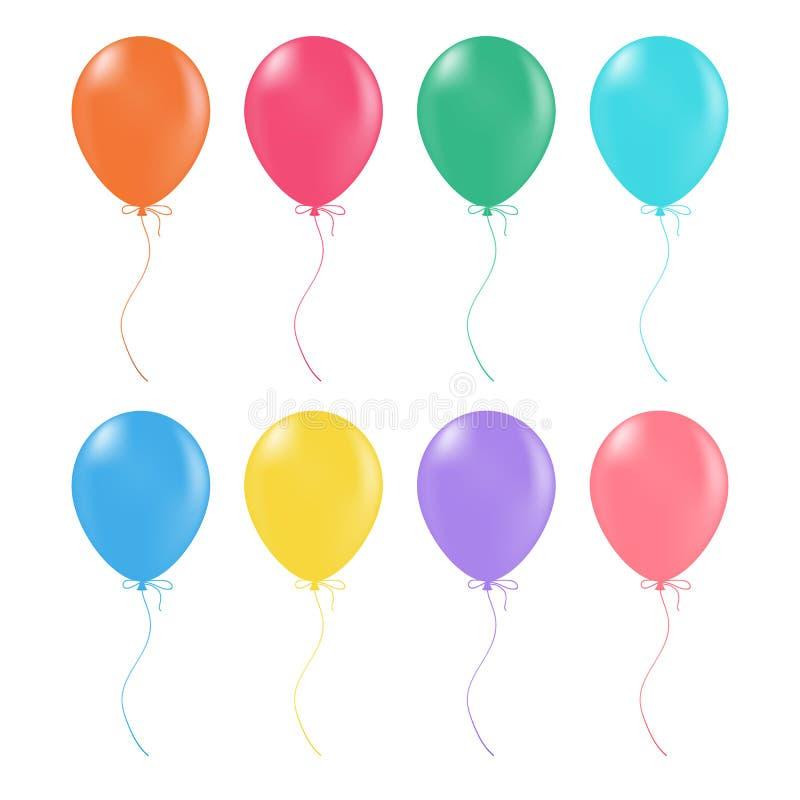 Stubarwni hel balony Glansowany I Błyszczący Lotniczy Baloons Odizolowywający Na Białym tle również zwrócić corel ilustracji wekt ilustracji