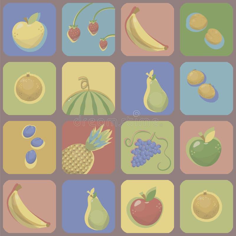 Stubarwni kwadraty z zaokrąglonymi kątami z obrazkami jaskrawe owoc, jagoda z kontrastowanie koloru cieniem, świecenie ve i pojem royalty ilustracja