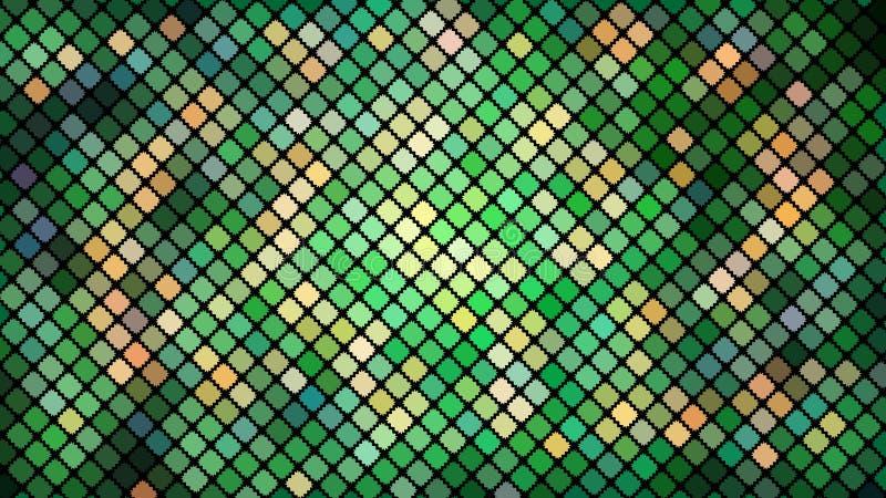 Stubarwny abstrakcjonistyczny tło zieleń obciosuje, rhombuses, prostokąt płytki, mozaika z szwu błyszczący jaskrawy pięknym struk ilustracja wektor