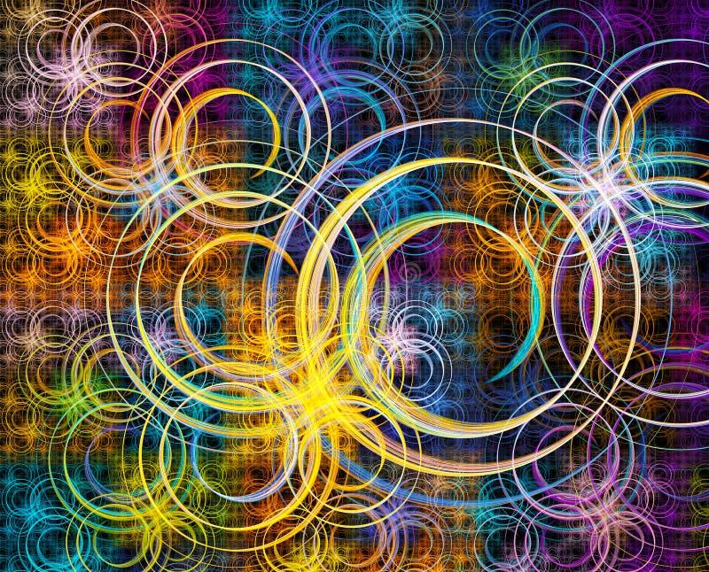 Stubarwny fractal z zawijasami nad czarnym tłem obrazy royalty free