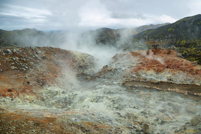 Stubarwny geotermiczny teren Landmannalaugar fotografia stock