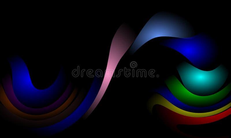 Stubarwny kolor fali abstrakcji projekta szablon Ilustracja, krzywa ilustracji