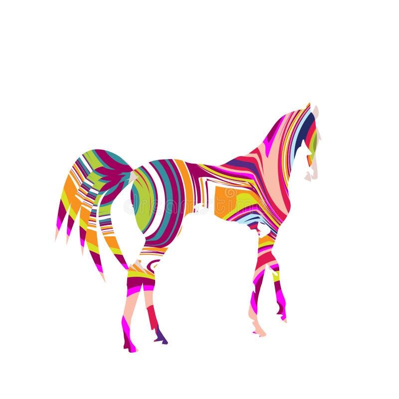 Stubarwny, kolorowy koń, robi krokowi royalty ilustracja