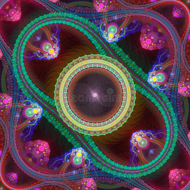 Stubarwny symetryczny siatki fractal wzór Komputer wytwarza royalty ilustracja
