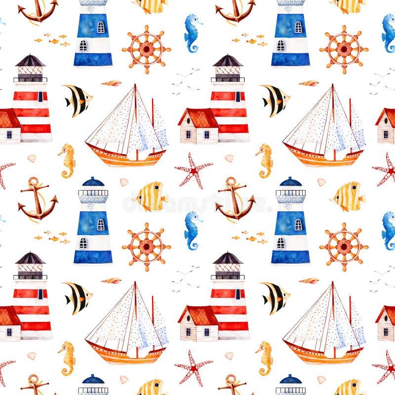 Stubarwny tło z ślicznym żeglarza niedźwiedziem, kotwica, latarnie morskie, koral łowi ilustracji