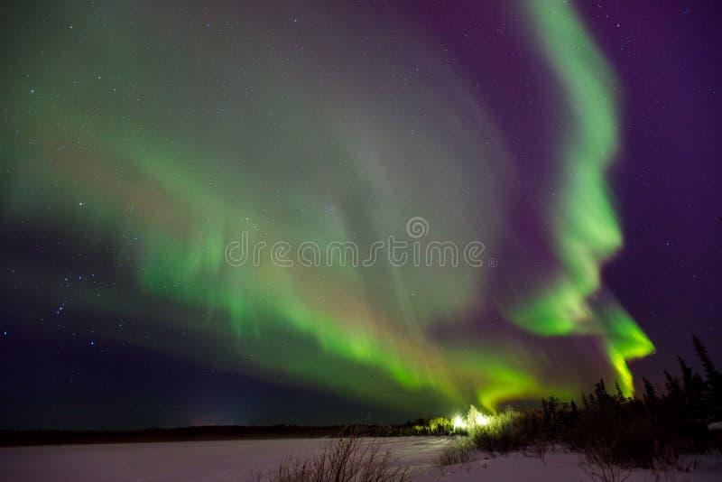 Stubarwny zielony Fiołkowy wibrujący aurora borealis Polaris, Północni światła w nocnym niebie obrazy stock