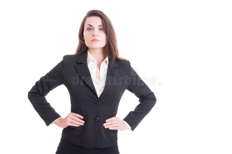 Stubborn boss, manager or business woman holding hands on waist. As powerful leader concept isolated on white background stock image