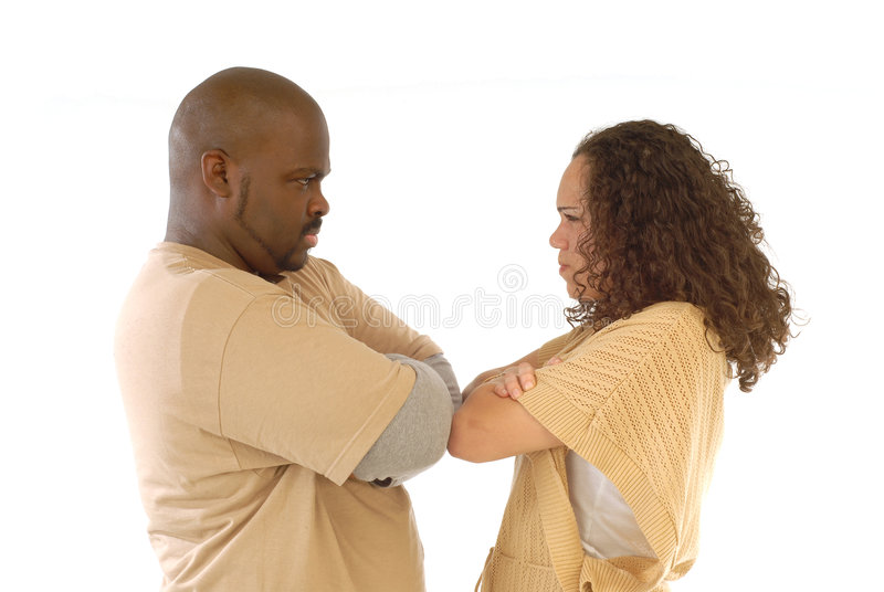 Stubborn couple. Couple facing relationship difficulties and both being stubborn about it royalty free stock images