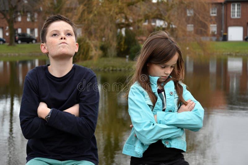 Stubborn siblings royalty free stock photos