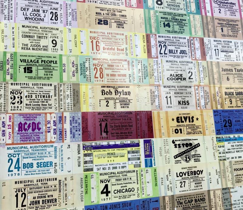 Stubs билета от различных художников стоковое изображение rf