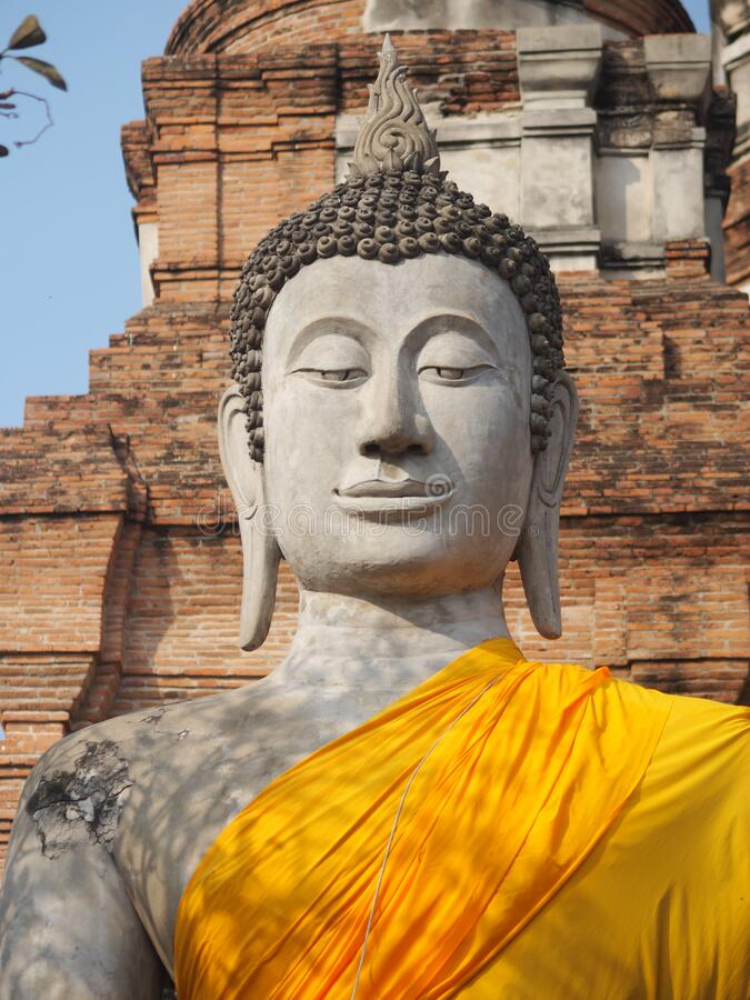 Stucco Buddha images in the Ayutthaya period enshrined at the Wat Yaichaimongkol, Buddhist Temple. Closeup face Stucco Buddha images in the Ayutthaya period royalty free stock photography