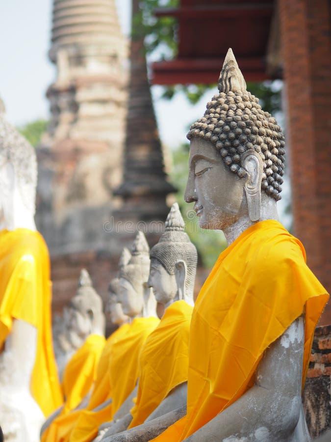 Stucco Buddha images in the Ayutthaya period enshrined at the Wat Yaichaimongkol, Buddhist Temple. Closeup face Stucco Buddha images in the Ayutthaya period royalty free stock image