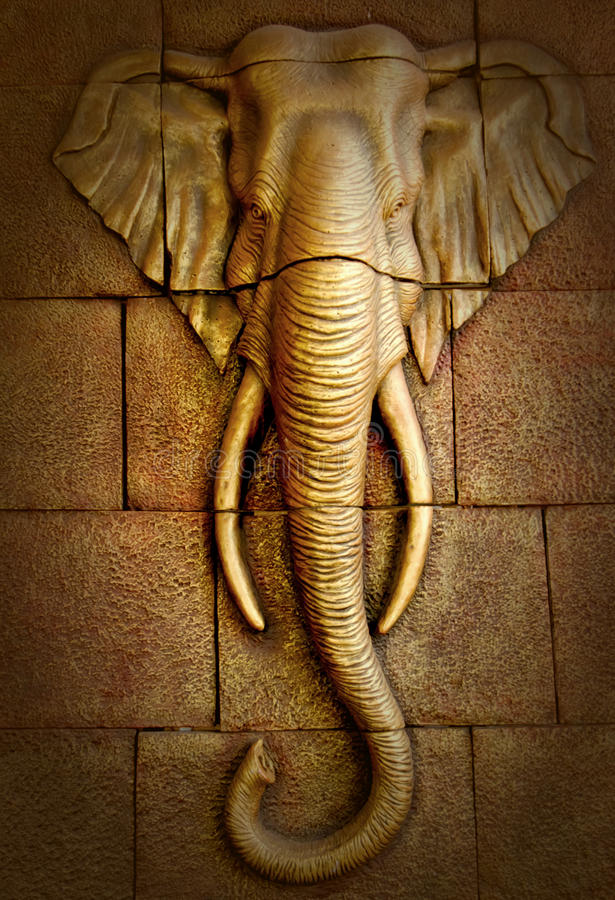 Stucco carved wall depicting elephant royalty free stock images