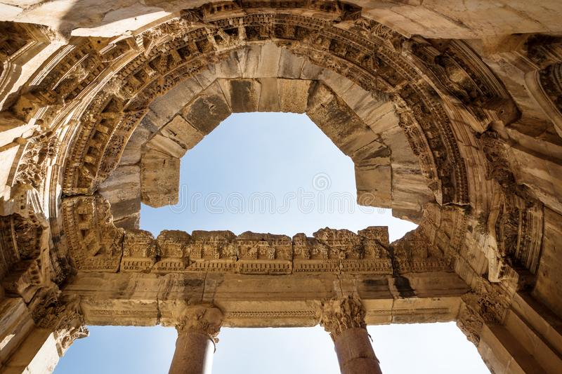 Stucco and Columns at the Jupiter temple in Baalbek, Bekaa valley, Lebanon. Stucco and Columns shined by sun at the Jupiter temple in Baalbek, Bekaa valley royalty free stock image