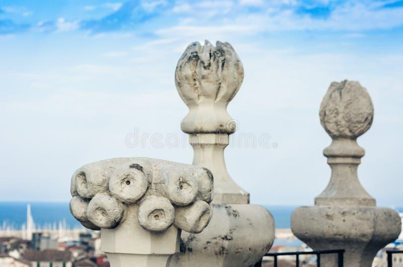 Stucco della decorazione del terrazzo in vecchia cattedrale barrocco a Catania, architettura tradizionale della Sicilia, Italia fotografie stock
