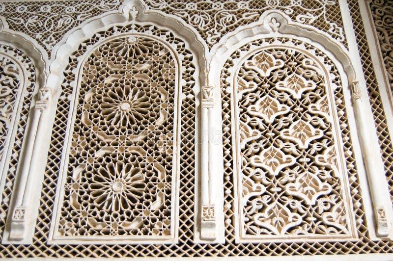 Stucco Di Marrakesh Del Palazzo Della Bahia Fotografia Stock Libera da Diritti