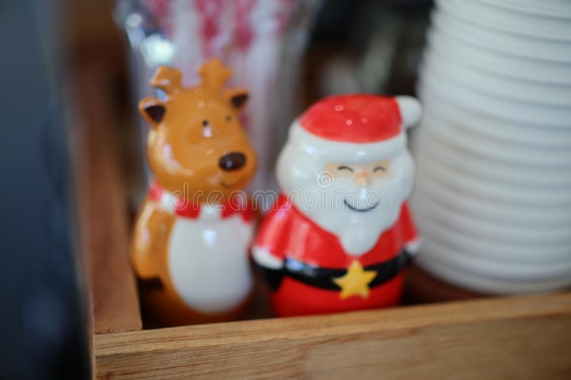 Stucco dolls, deer and Santa Claus Collection on Christmas Day stock photos