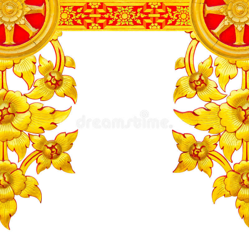 STUCCO golden flowers royalty free stock image