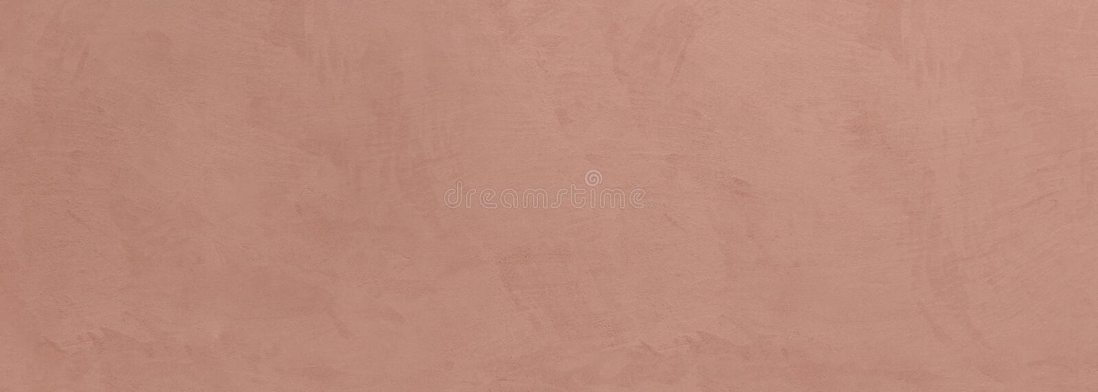 Stucco painted wall texture background, beige brown color, banner royalty free stock photography