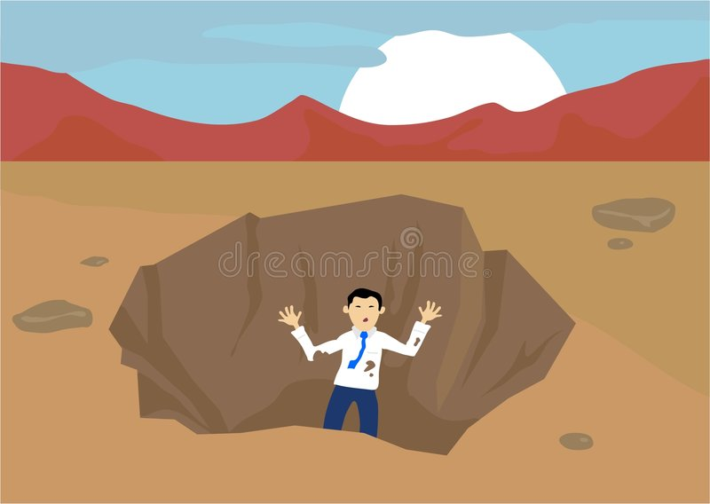 Download Stuck in a Pit stock vector. Illustration of helpless, excavation - 72686