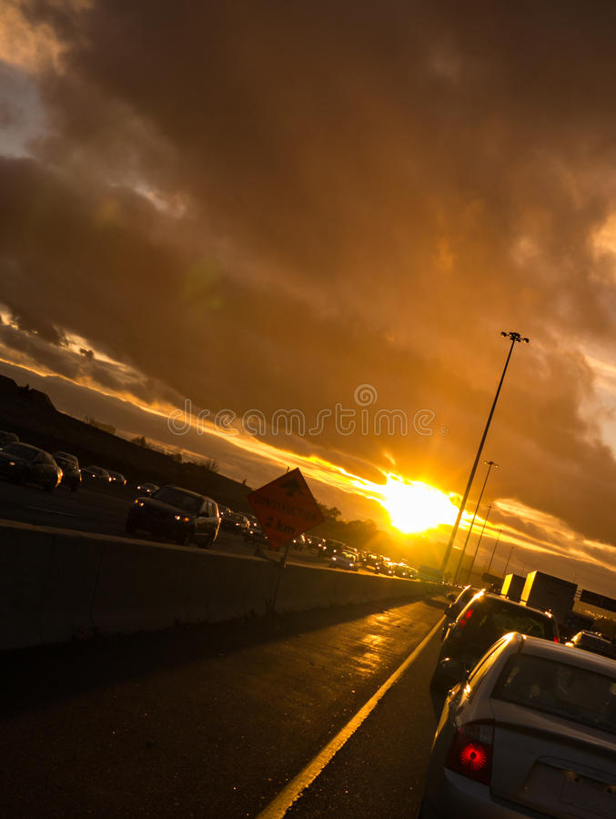 Stuck in Sunset Traffic on Way Home stock image