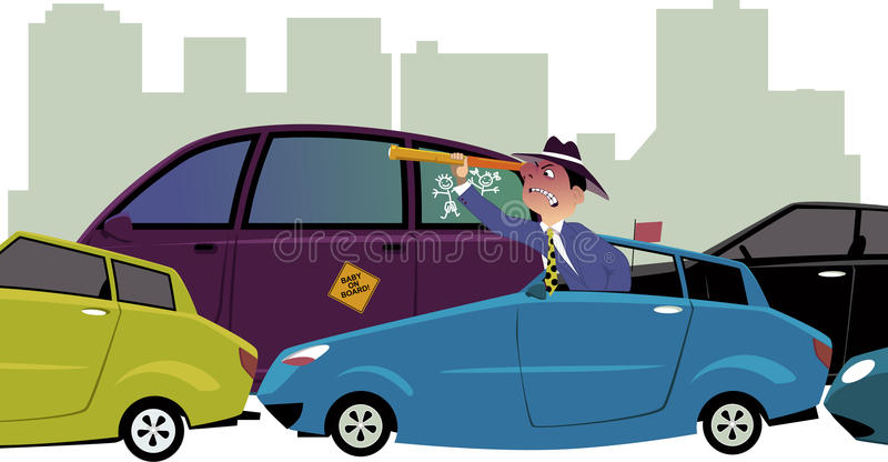 Stuck in traffic. Upset driver, sitting in a traffic jam, looking out of his car with a spy-glass, cityscape on the background, vector illustration, no stock illustration