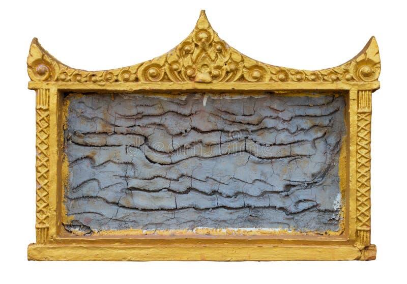 Stuckatur för guld för isolatbildram royaltyfria bilder