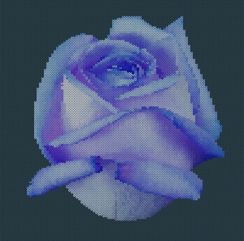 Stucken bakgrund - blomman steg Blåttros på en mörk cyan bakgrund också vektor för coreldrawillustration stock illustrationer