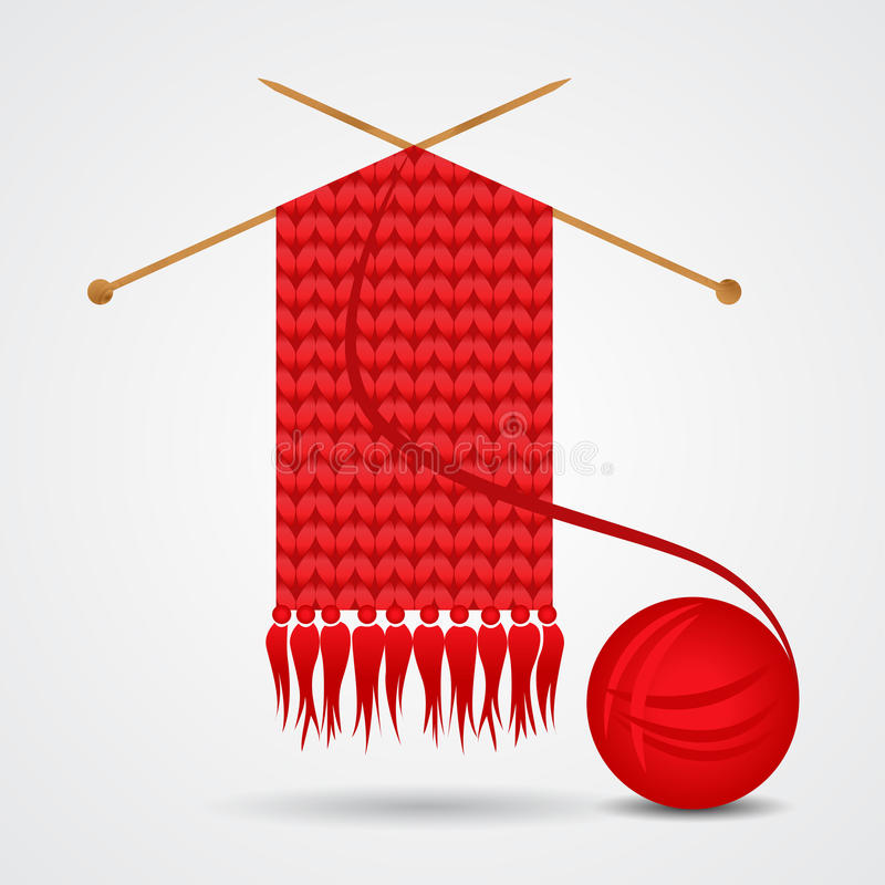 Stucken röd halsduk med en garnboll vektor illustrationer