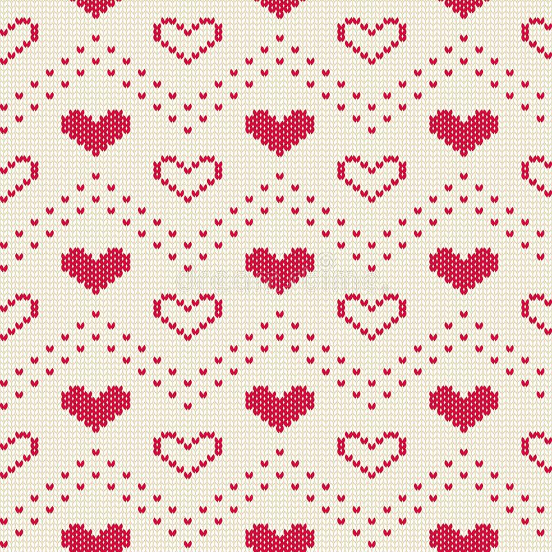 Stucken sömlös modell med hjärtor Romantisk prydnad för tröja Det kan vara nödvändigt för kapacitet av designarbete royaltyfri illustrationer