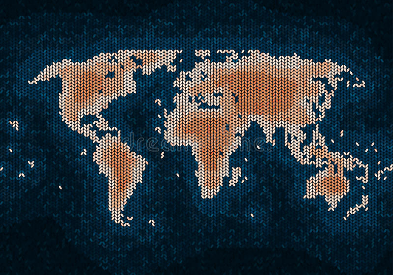 Stucken världskarta stock illustrationer