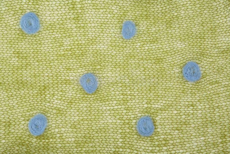 Stuckit grönt mohairtyg med prickar arkivbild