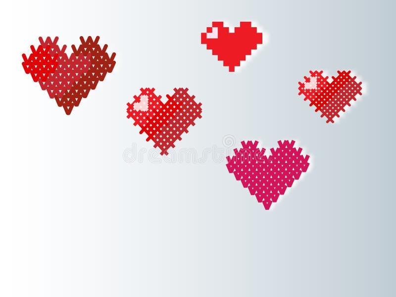 Stuckit PIXEL som broderas, hjärta för bakgrunden vektor illustrationer