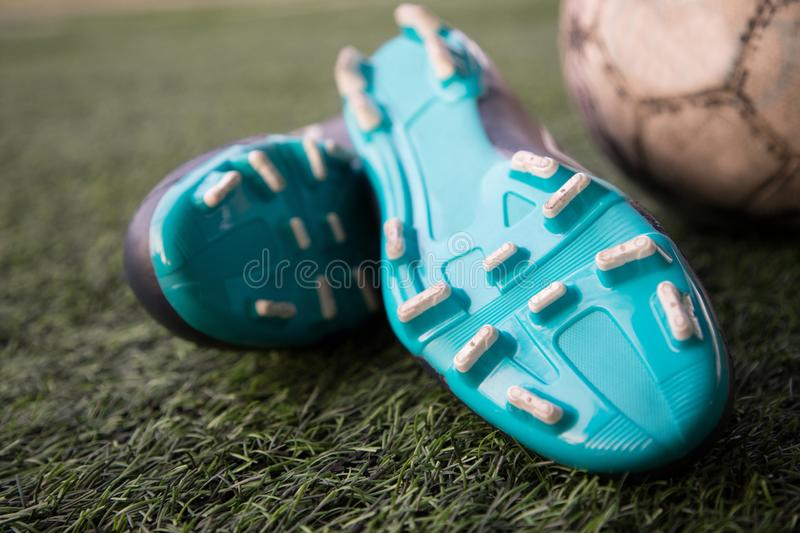 stud with ball on football pitch royalty free stock photos