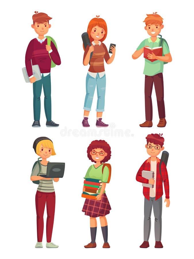 Studenci collegu Uniwersytecki studiowanie uczeń, nastolatka studiowania anglicy rezerwuje i nastolatek z plecak kreskówką ilustracji