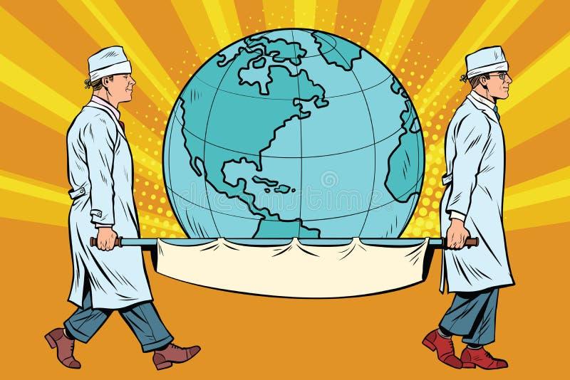 Studenci medycyny niosą planety ziemię na blejtramu royalty ilustracja