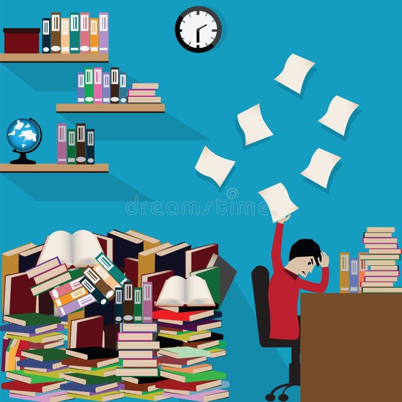 Studencka chłopiec czytająca rezerwuje przy nocnego, studenckiego studiowania ciężkim b, royalty ilustracja